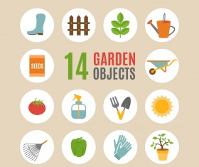 Circles garden objects icons