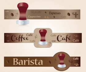 Coffee with cafe art banners vector 01