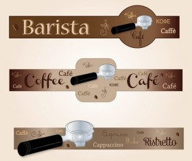 Coffee with cafe art banners vector 02
