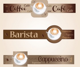 Coffee with cafe art banners vector 03
