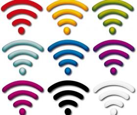 Colored WI-FI icons set