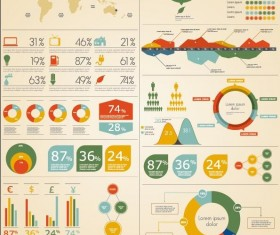 Colored business infographics elements vectors
