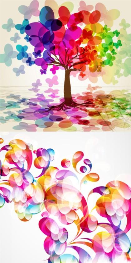 Colorful fantasy creative background vector set