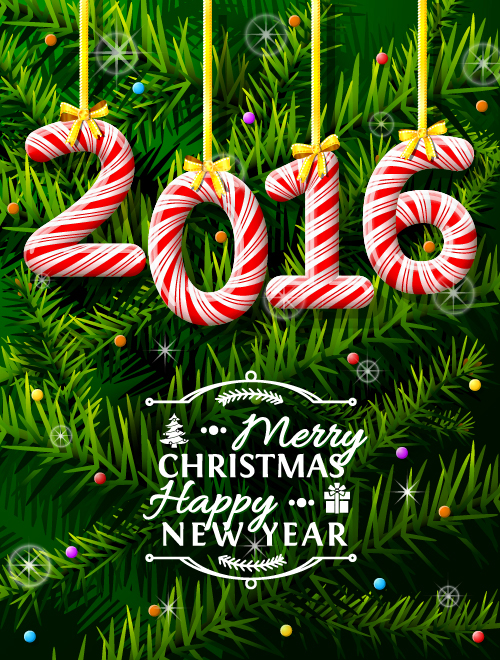 Creative 2016 christmas with new year vector design 06 free download 4907372c03