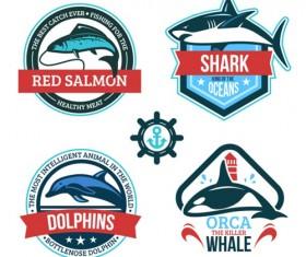 Creative fish label vector set
