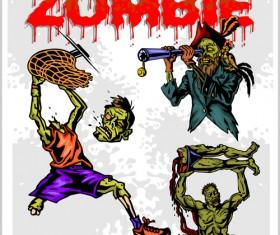 Creative zombie design vector set 06