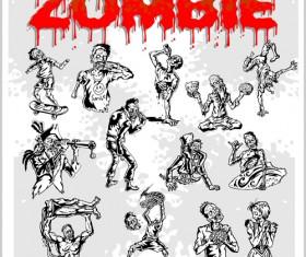 Creative zombie design vector set 07