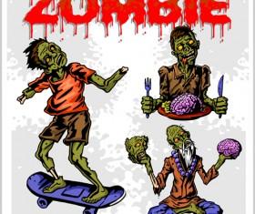 Creative zombie design vector set 09