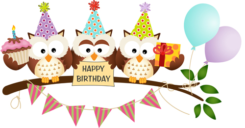 Birthday Cards Cartoon ~ Cute owl with birthday cards vector material vector card free download