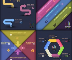 Dark color infographics business tamplate vector 03