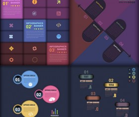 Dark color infographics business tamplate vector 04