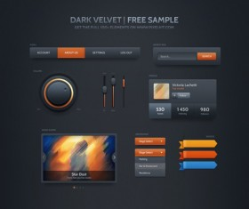 Dark velvet free sample UI kit