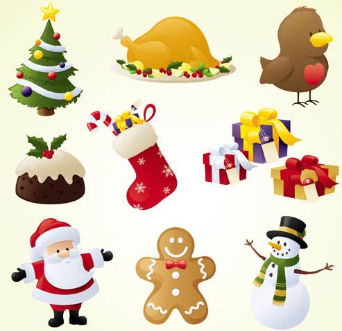 Cute Christmas Icons set vector