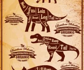 Dinosaur cuts labels vector material