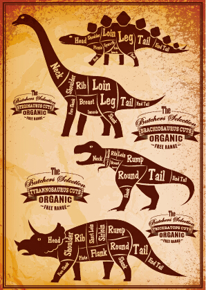 dinosaur cuts labels vector material free download