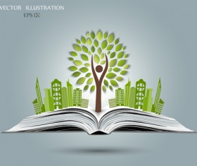 Ecology with book concepts template vector 03