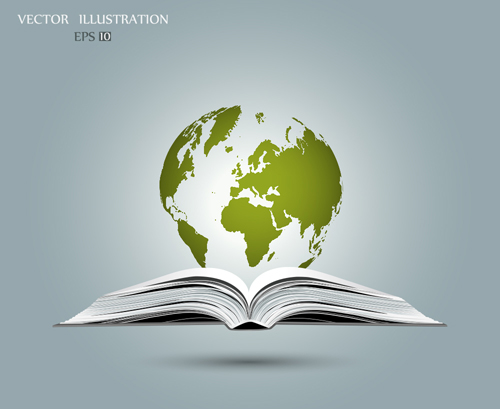 Ecology with book concepts template vector 06