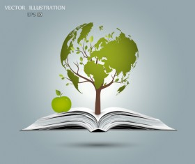 Ecology with book concepts template vector 07
