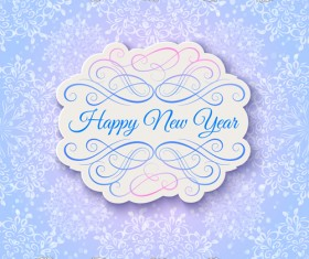 Elegant new year card with lace border vector 01