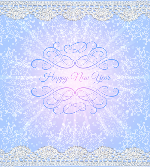 elegant new year card with lace border vector 02