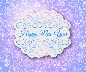 Elegant new year card with lace border vector 03