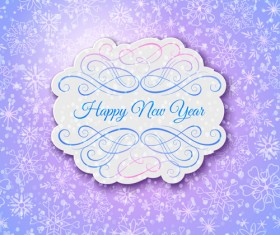 Elegant new year card with lace border vector 05