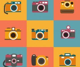 Exquisite vintage camera icons set