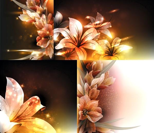 Fantasy flower beautiful background set vector