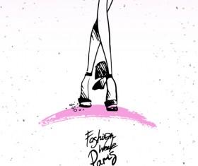 Fashion paris hand drawn vector 01
