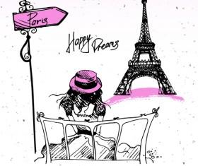 Fashion paris hand drawn vector 02
