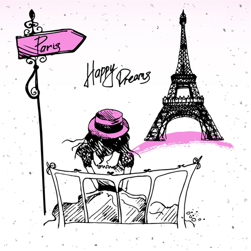Fashion Paris Hand Drawn Vector 02 Free Download