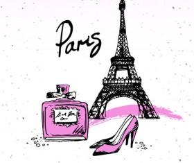 Fashion paris hand drawn vector 03