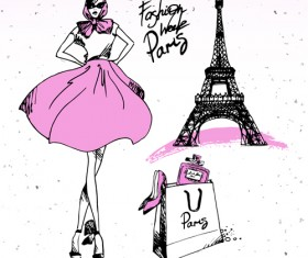 Fashion paris hand drawn vector 04