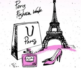 Fashion paris hand drawn vector 05