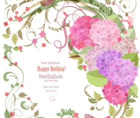 Flower holiday invitation cards vectors 01