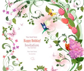 Flower holiday invitation cards vectors 02