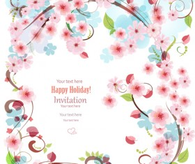 Flower holiday invitation cards vectors 03