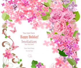 Flower holiday invitation cards vectors 04