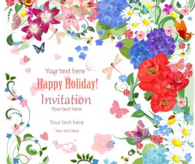 Flower holiday invitation cards vectors 07