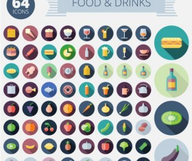 Food with drink long shadow icons