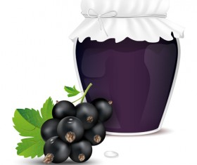 Fresh jam with Jar and fruits vector 01