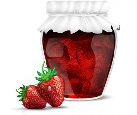 Fresh jam with Jar and fruits vector 05