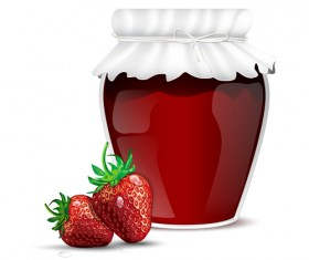 Fresh jam with Jar and fruits vector 06