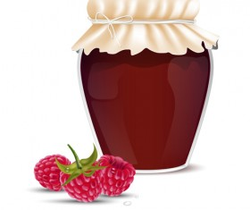 Fresh jam with Jar and fruits vector 07