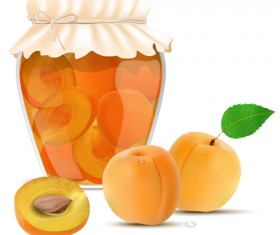 Fresh jam with Jar and fruits vector 09