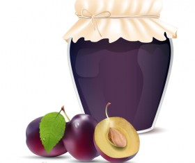 Fresh jam with Jar and fruits vector 10