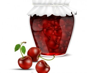 Fresh jam with Jar and fruits vector 12