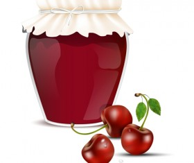 Fresh jam with Jar and fruits vector 13