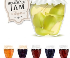 Fresh jam with Jar and fruits vector 14