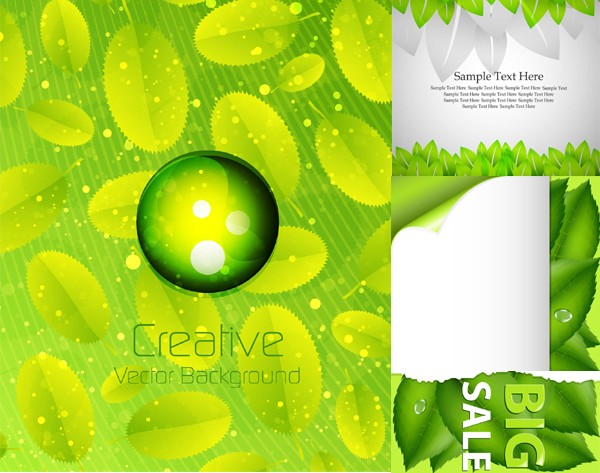 Fresh green element background shiny vector